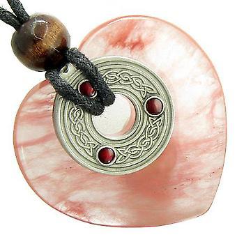 Celtic Triquetra Knot Protection Amulet Cherry Quartz Gemstone Heart Pendant Necklace