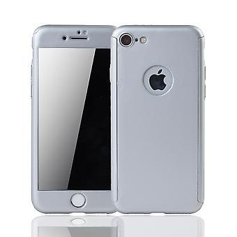 Apple iPhone 7 mobiele zaak bescherming kast 360 volledige dekking tank bescherming glas zilver