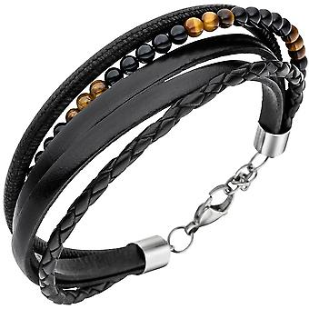 Leather Bracelet black with Onyx, Tiger eye balls 23 cm bracelet