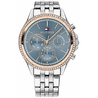 Tommy Hilfiger Womens Stainless Steel Rose Gold Plated Crystal Set Grey 1781976 Watch