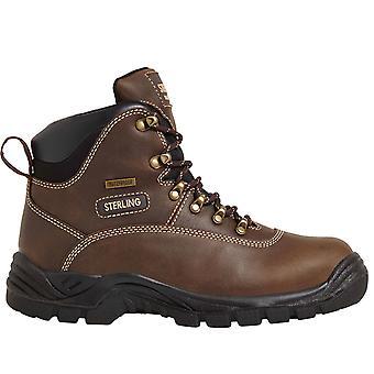 Sterling Brown Waterproof Safety Hiker Work Boots. Steel Toe & Midsole –SS813SM