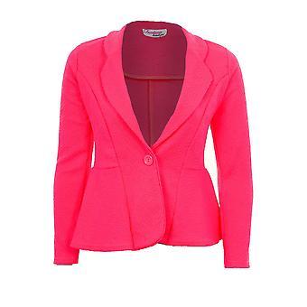 Ladies Textured One Button Luminous Frill Shift Party Office Blazer Women's Jacket
