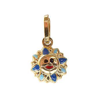 Gold enamel Sun pendant