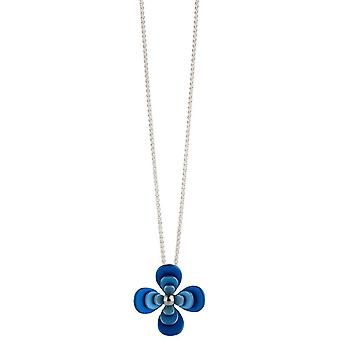 Ti2 titan dubbel fyra kronblad blomma hänge - blå