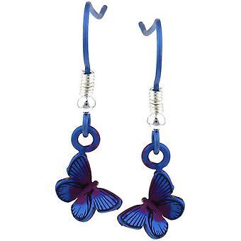 Ti2 tytanu leśnych Mały motyl Drop kolczyki - fioletowy