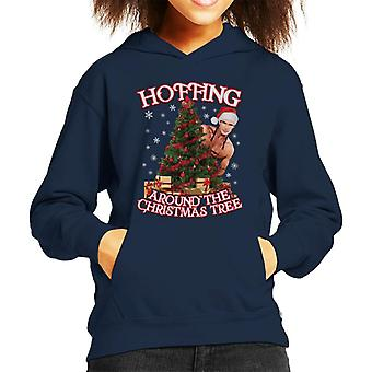 David Hasselhoff Hoffing Around The Christmas Tree Kid's Hooded Sweatshirt