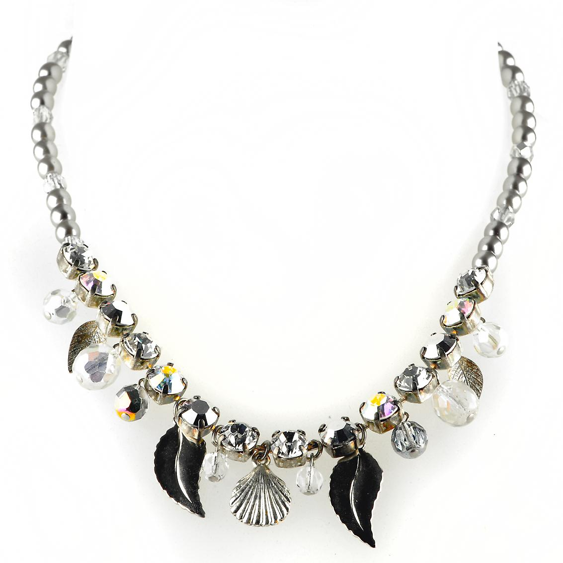 Waooh - Fashion Jewellery - WJ0320 - Style Necklace with Swarovski Diamonds - Old Elements in Silver - Metal Beads Colour