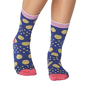 Moon women's soft bamboo crew socks in marine | By Thought