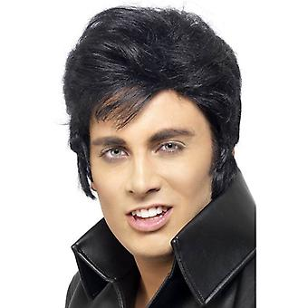 Corto nero parrucca, parrucca Elvis Presley, Fancy Dress Accessory