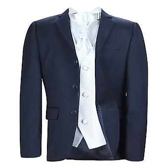 Boys New 5 Pc Navy & White Wedding Cravat Suit