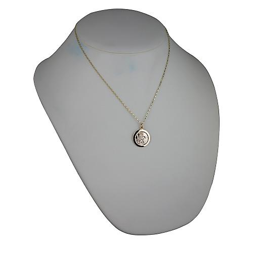 9ct Gold 21mm round St Christopher with Belcher chain