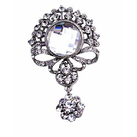 Simulated Diamond Dangling Encrusted Cubic Zircon Sparkling Brooch Pin