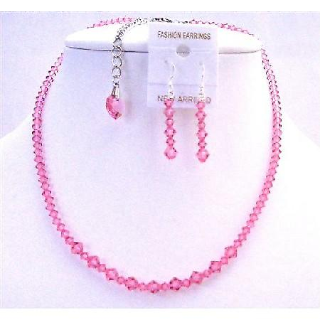 Rose Heart Crystals Back Drop Down Swarovski Rose Crystals Jewelry Set