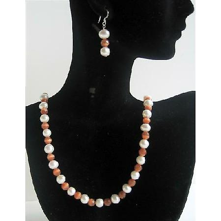Handcrafted Genuine Freshwater Pearl Cat Eye Necklace Set Custom Genuine Bead Jewelry Set w/ Sterling Silver Earrings