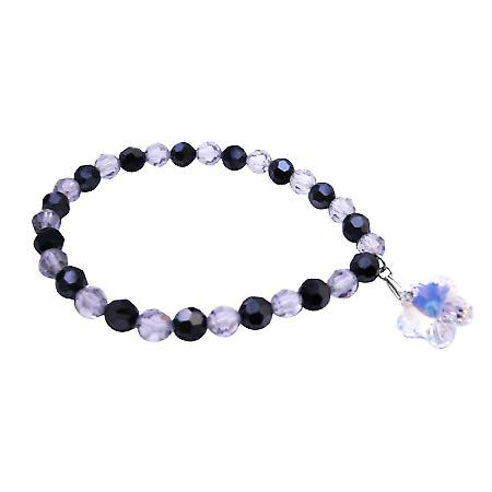 Swarovski Gift Bracelet Shadow & Jet Crystals Dangling AB Crystal Flower