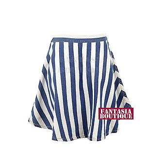 Ladies Denim White Striped Skater Flare Mini Short Women's Skirt