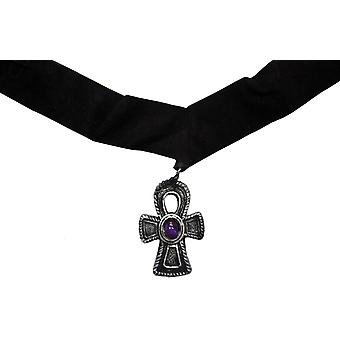 Choker Velvet Cross W Purple