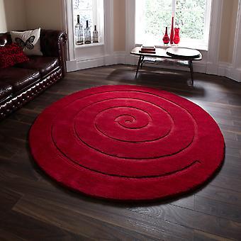 Spiral Cirkulära Ull mattor i rött