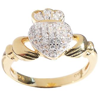 Mesdames Claddagh traditionnel Pave définissant l'anneau avec une touche étincelante!