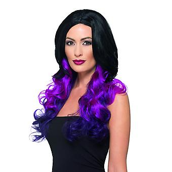 Deluxe ombre TIG gewellte long-haired wig black purple Carnival accessory