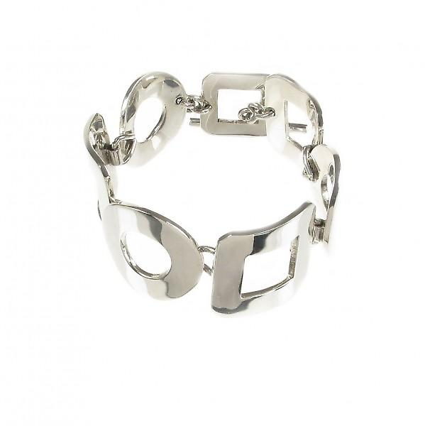 Cavendish French Sterling Silver Square and Circle Bracelet