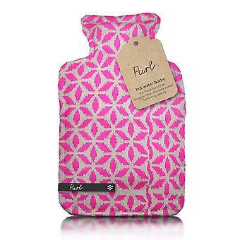 Purl Pink Blocks Designer Knit 2L Hot Water Bottle