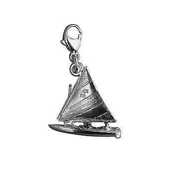 Silver 17x18mm Yacht with Sailor Charm with a lobster catch