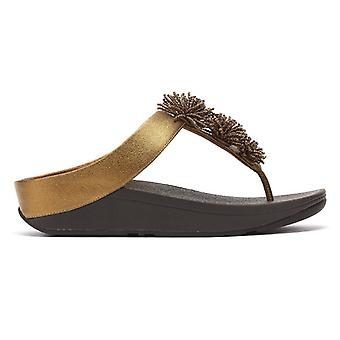 FitFlop Fino Bead Pompom Womens Bronze Sandals