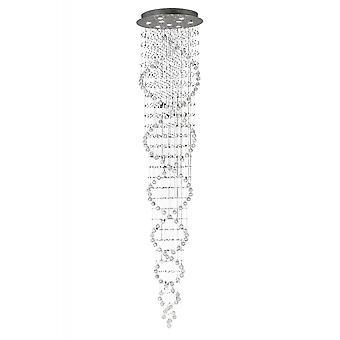 Diyas Colorado Pendant Tall Corkscrew 9 Light Polished Chrome/Crystal