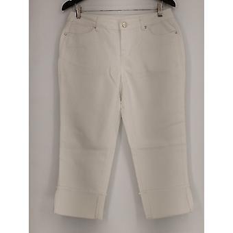 OSO Casuals Jeans Wide Cuff Stretch Denim/Twill Crop White A431103