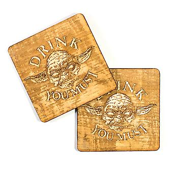 Drink you must wood coaster set of two 4x4in raw wood