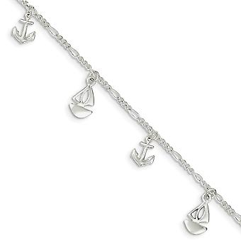 925 Sterling Silver Fancy Lobster Closure Polished Boat and Anchor With 1inch Ext. Anklet - 9 Inch