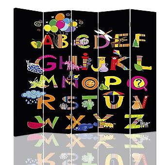 Room Divider, 5 Panels, Double-Sided, 360 ° Rotatable, Canvas, Alphabet 3