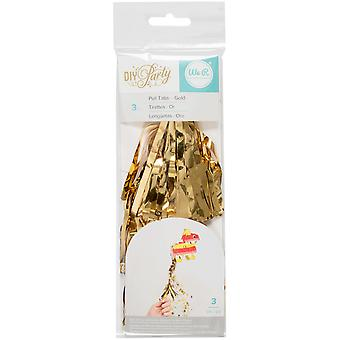 DIY Party Mini Pinata Pull Tabs 3/Pkg-Gold 660819