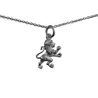 Silver 15x13mm Rampant Lion Pendant with a rolo Chain 14 inches Only Suitable for Children