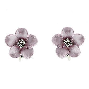 Clip On Earrings Store Petite Silver Plated Matt Pink Daisy Flower Clip on Earrings