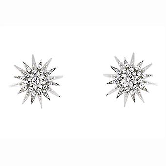 Swarovski Crystal & Silver Plated Starburst Snowflake Stud Earrings Stud Earrings