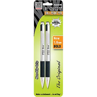 F-301 Stainless Steel Ballpoint Pen 1.6mm 2/Pkg-Black Z27312