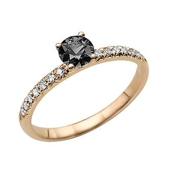 1.14 CTW 14K Rose Gold Black Diamond Ring with Diamonds Classic Gentle Solitaire
