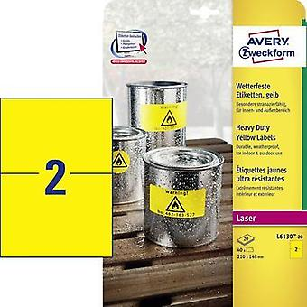Avery-Zweckform L6130-20 Labels (A4) 210 x 148 mm Polyester film Yellow 40 pc(s) Permanent All-purpose labels, Weatherpr