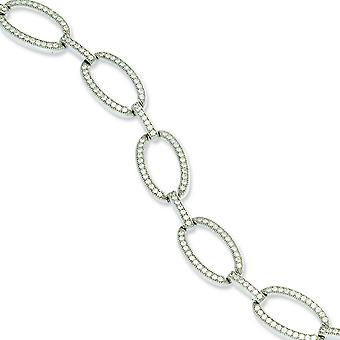 Sterling Silver and CZ Polished Bracelet - 7.25 Inch
