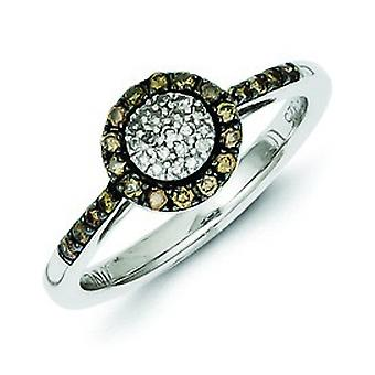 Sterling Silver Champagne Diamond Circle Ring - Ring Size: 6 to 8