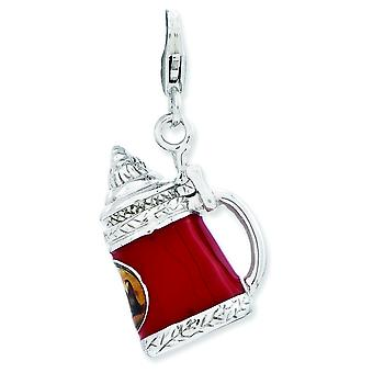 Sterling Silver Enameled Beer Stein With Lobster Clasp Charm - 5.9 Grams
