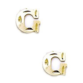 14k Yellow Gold Initial G Stamping Children Earrings - Measures 6x7mm