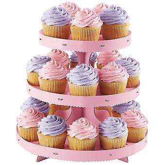 Corrugated Cupcake Stand 3 Tiers-Pink W0884