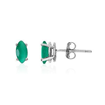 14k White Gold Emerald Marquise Earrings