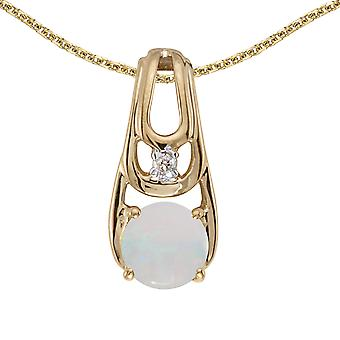 14k Yellow Gold Round Opal And Diamond Pendant with 18