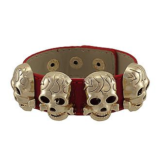 Leather Wristband with Rose Gold/Copper Metal Skull Studs