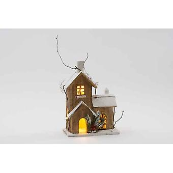 Wooden Winter Effect Christmas Decoration House With 10 LED Gift Item