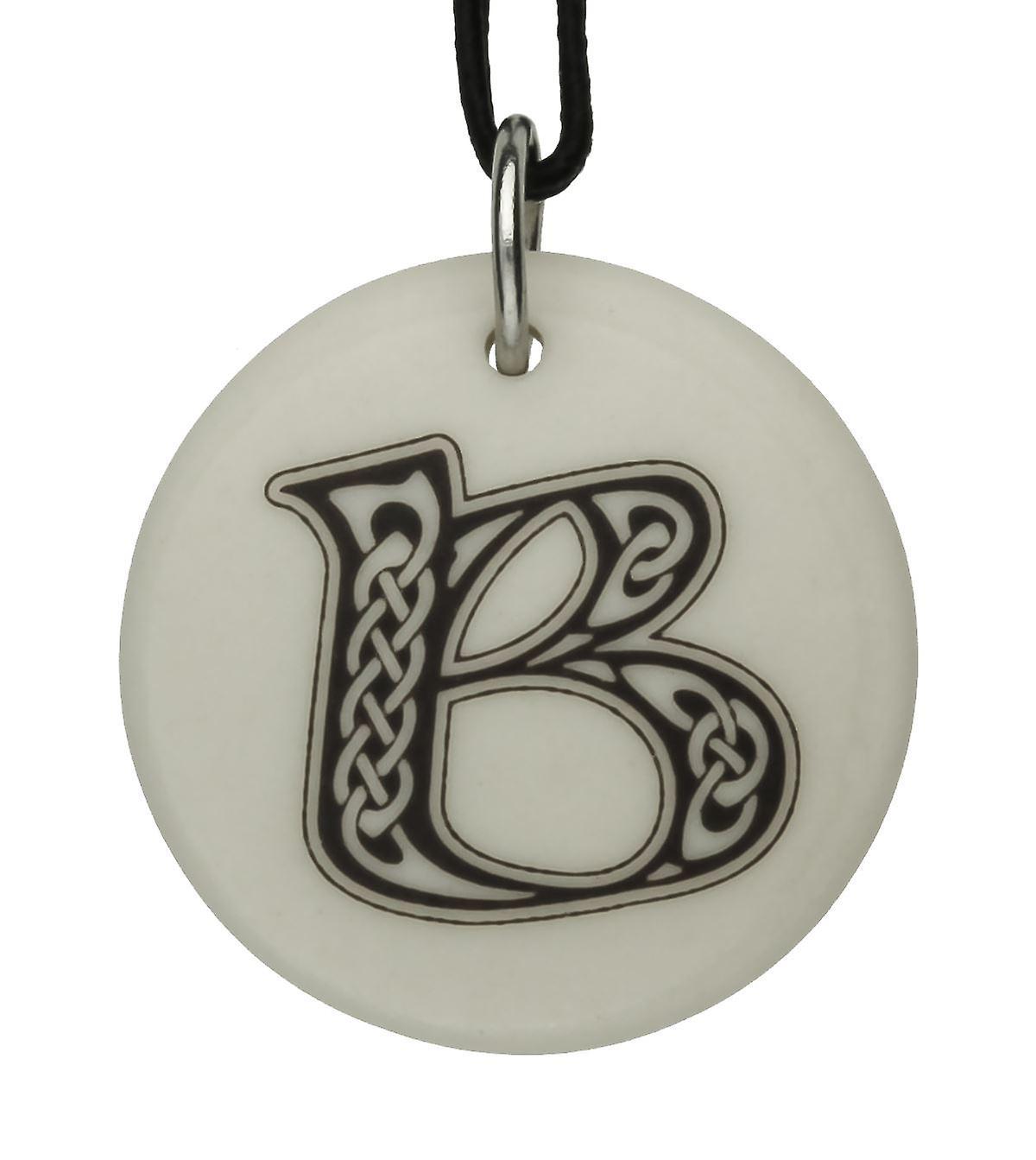 Handmade Celtic Initial Round Shaped Porcelain Pendant - Letter 'B'